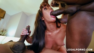 Sexy slut Jennifer White takes two big black cocks AB009 small screenshot