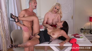 Busty Babes Kyra Hot & Cristina Miller in Titty Suck and Fuck Threesome GP154 small screenshot