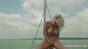 Blonde glamour hottie Christina Shine blows & rides big hard cock on yacht GP285 small screenshot