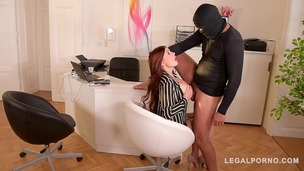 Burglar grabs Lucy Li by her big firm tits & fucks her pink at the office GP344 small screenshot