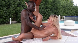 Slim blonde college babe Aisha takes on big black monster cock by the pool GP397 small screenshot