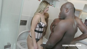 Nikky Dream discovers BBC shower in toilet with double anal IV172 small screenshot