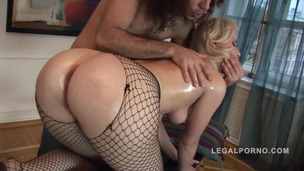 Blonde slut Sheila Lin oiled up and fucked NR168 small screenshot