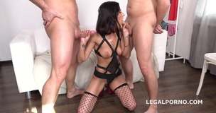 Victoriya Lusconi gets 2on1 Anal and DP with rough sex, manhandle, Facial GL044 small screenshot