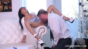 Insatiable college student Shay Evans spreads her long legs wide open GP413 small screenshot