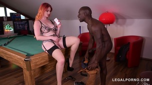 Redhead Zara Durose gets fingered & fucked by black stud's big monster cock GP426 small screenshot