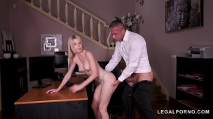 Hot blonde secretary Olivia Sin licked and fucked by boss on office table GP486 small screenshot