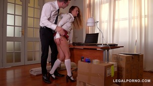 Submissive schoolgirl Blue Angel spanked & fucked hardcore by teacher GP781 small screenshot