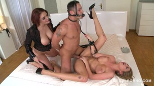 BDSM threesome with Lexi Lowe & Emma Leigh spanking & gagging young man GP835 small screenshot