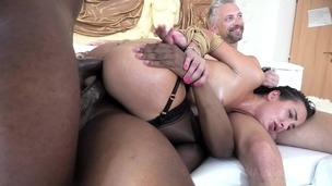 Nasty Freya Dee anal fucked balls deep 4on1 with BDSM, Gapes, Farts and Huge Facial NF028 small screenshot