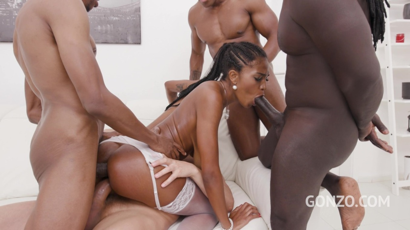 LegalPorno - Gonzo_com - Ebony slut Tina Fire welcome to Gonzo with 4on1 double penetration SZ2511