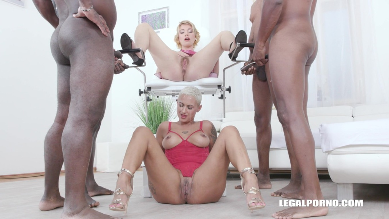LegalPorno - Interracial Vision - Lolly Glam enjoys african champagne and gets 2 cocks in the ass with anal fisting IV519