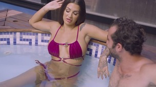Spanish pornstar Susy Gala gets a gooey facial after hardcore sex poolside GP1404 small screenshot