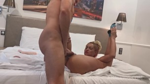 Cherry's boyfriend shoves huge dildo up her ass in a hotel room OTS030 small screenshot