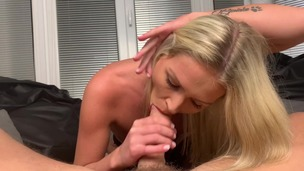 Hot blonde in stockings Claudia Mac rides boyfriend's cock OTS103 small screenshot