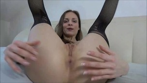 Mary Wet toys and tastes her ass with a glass dildo OTS102 small screenshot