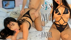Applying oil and fucking the hottest latina ever Emanuelly Raquel in fishnet POV OTS437 small screenshot