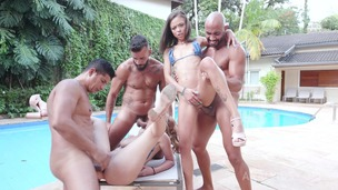 Poolside orgy with Polly Petrova & Larissa Leite (3on2 DP, Fisting) YE076 small screenshot